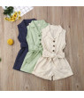 Summer Toddler Baby Girls Kids Clothes Bow-tie Waist Overall Romper Bodysuit Jumpsuit Outfits Shorts 1-6Y