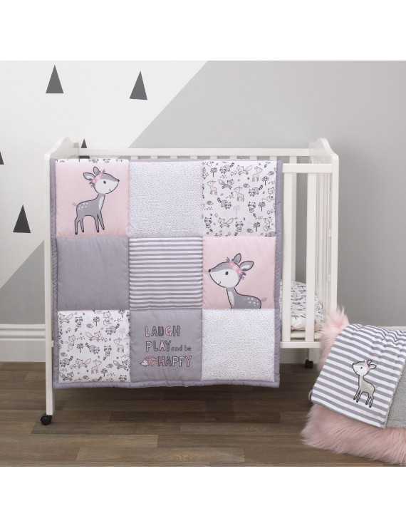 Little Love by NoJo Sweet Deer - Grey, Pink, White 3 Piece Nursery Mini Crib Bedding Set with Comforter, 2 Fitted Mini Crib Sheets