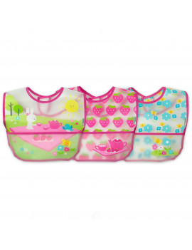 (2 Pack) Green Sprouts Wipe-Off Bibs (3ct) Pink Picnic Set 9/18 mo 3 Ct