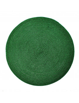 Christmas Carol Woven Spiral Table Placemats 15 Inches Round Set of 6 Non-Slip Dining & Kitchen Table Mats Green