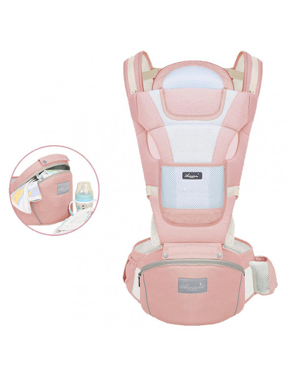 4 in 1 Baby Carrier Convertible Ergonomic Baby Carrier Baby Kangaroo Bag Breathable Front Facing Baby Carrier Infant Backpack Pouch Wrap Baby Sling for Newborns, Pink