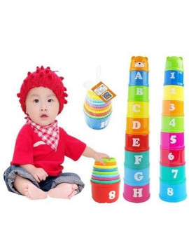 2019 New Baby Kid Play Educational Letters Piles Folding Cups Stacking Bathing Cute Toys