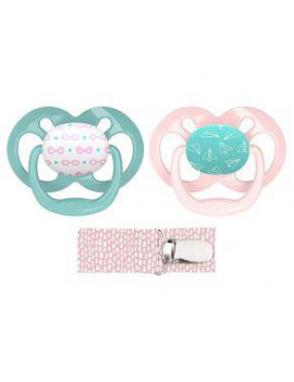 Dr. Brown's Advantage 2-Pack Stage 2 Pacifiers with Clip, Pink