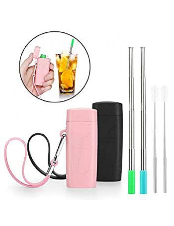 Portable Reusable Metal Straws- Telescopic Stainless Steel Travel Metal Straw with Carrying Case & Silicone Flex Tip, Cleaning Brush, 2 Pack((Pink & Black)