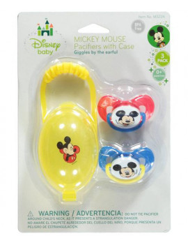 """Disney Mickey Mouse """"Giggles"""" 2-Pack Pacifiers with Case"""