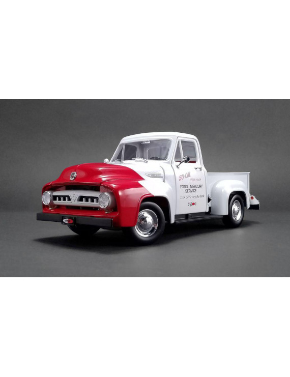 1953 Ford F100 Push Truck White and Red 1/18 Diecast Model Car by Acme