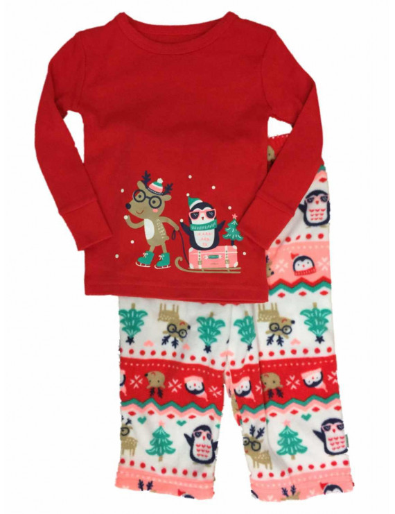 Infant & Toddler Girls Reindeer & Penguin Holiday Sleep Set Christmas Pajamas