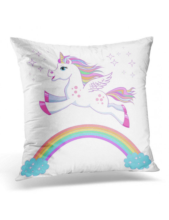 ARHOME Unicorn Magic Fantasy Horse Design for Children and Bags Childish Character White with Rainbow Hair Pillow Case Pillow Cover 20x20 inch