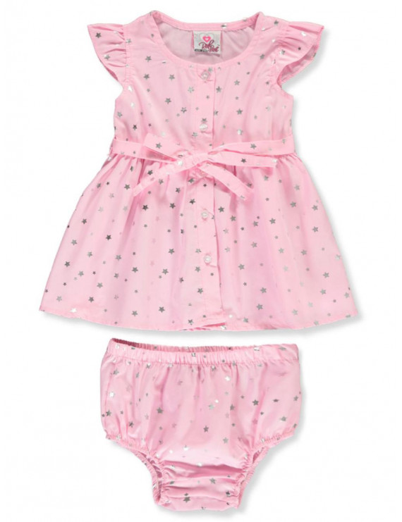 Real Love Baby Girls' Silver Stars 2-Piece Layette Set (Infant)