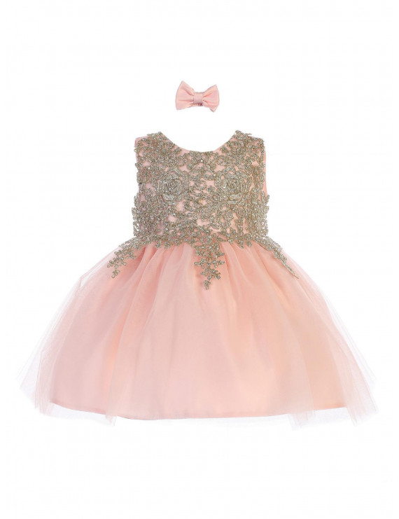Tip Top Kids Baby Girls Blush Lace Applique Tulle Pageant Dress