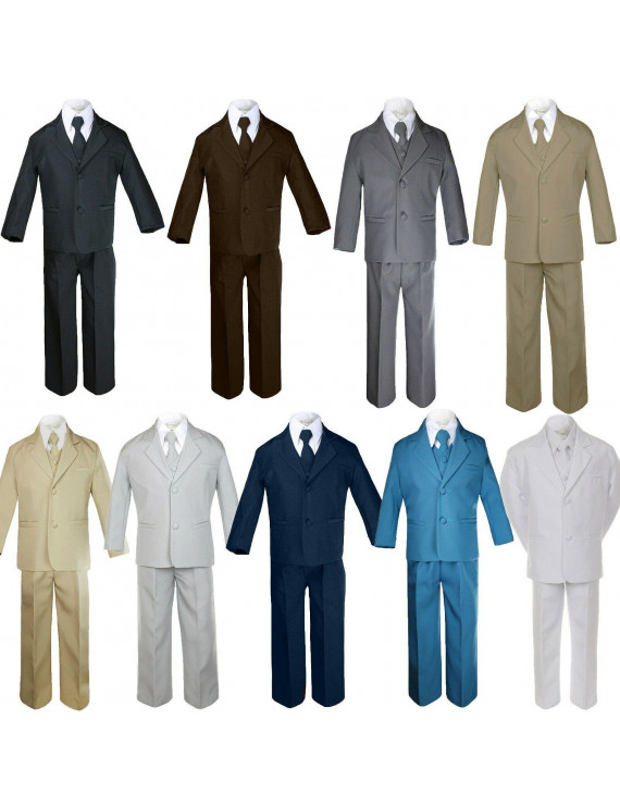5pc Baby Toddler Boy Young Adult Formal Party Wedding Suit Tuxedo Set