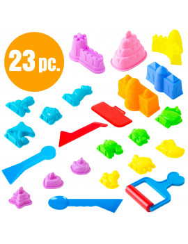 Children's Sand Molds Kit (23 pcs) - Use with Kinetic Sand, Sands Alive, Brookstone Sand, Waba Sand, Moon Sand and All Other Molding Play Sand Brands - (Sand not included)