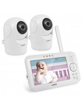 "VTech 2 Camera 5"" Digital Video Baby Monitor with Pan & Tilt Camera, Full Color and Automatic Night Vision, VM5262-2 (White)"
