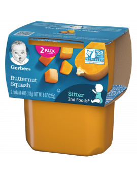 (Pack of 8) Gerber 2nd Foods Baby Food Butternut Squash 2-4 oz Tubs