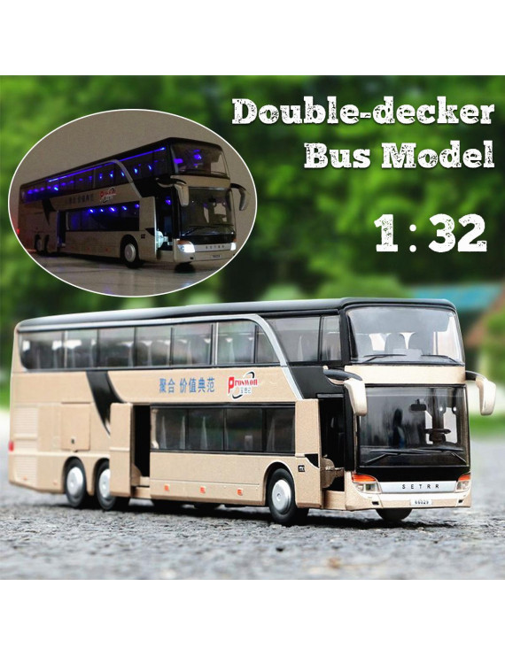 1:32 Alloy Double Decker Tour Bus Pull Back Car Model Sound Light Toy Simulated Play Vehicles Toys For Toddler Boys Girls Kids Gift - 3 to 12 Years