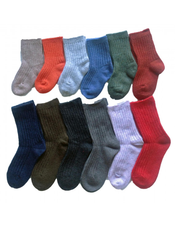 Lian Style 6 Pairs Children Wool Blend Crew Socks Size 2Y-4Y Girl Random Color
