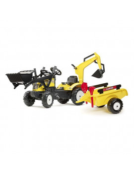 Falk FA2055CN Yellow Ranch Pedal Tractor with Backhoe, Front Loader & Trailer - 2 to 5 Years