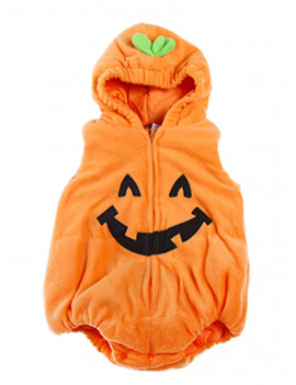 Bilo Halloween Kid Fleece Pumpkin Costume Comfy Jumpsuit (18-24 Months)