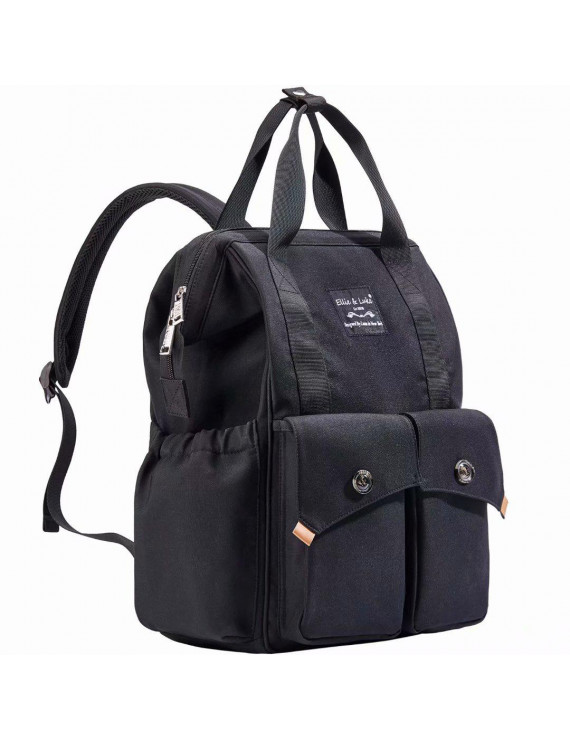 SoHo Backpack Diaper Bag, Rockaway Beach, Black, 3 Piece Set