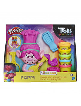 Play-Doh Trolls World Tour Rainbow Hair Poppy with 6 Cans (7 oz)