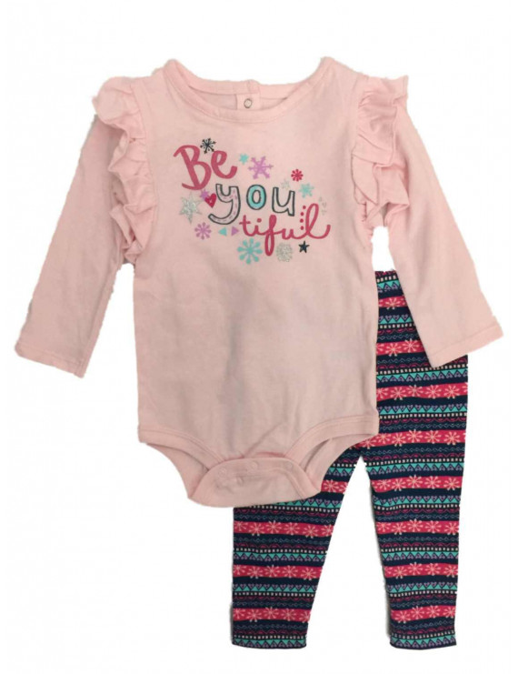 Infant Girls Pink Be You Tiful Baby Outfit Snowflake Bodysuit & Leggings Set