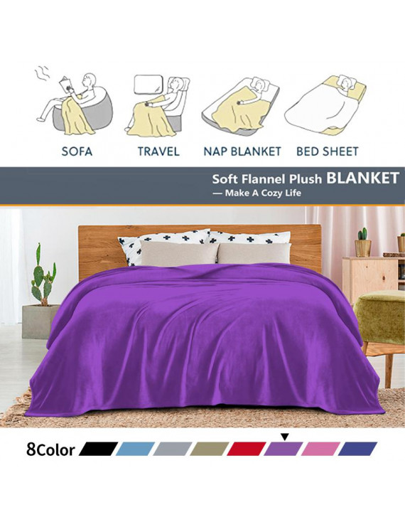 """Home Purple Flannel Fleece Throw Blanket Twin Size, Solid Ultra Soft Luxury Double Side Fuzzy & Plush Fall Blanket for Couch Pet, Fluffy Cozy Throw Blanket -All Season Premium Bed Blanket-(60""""x80"""")"""
