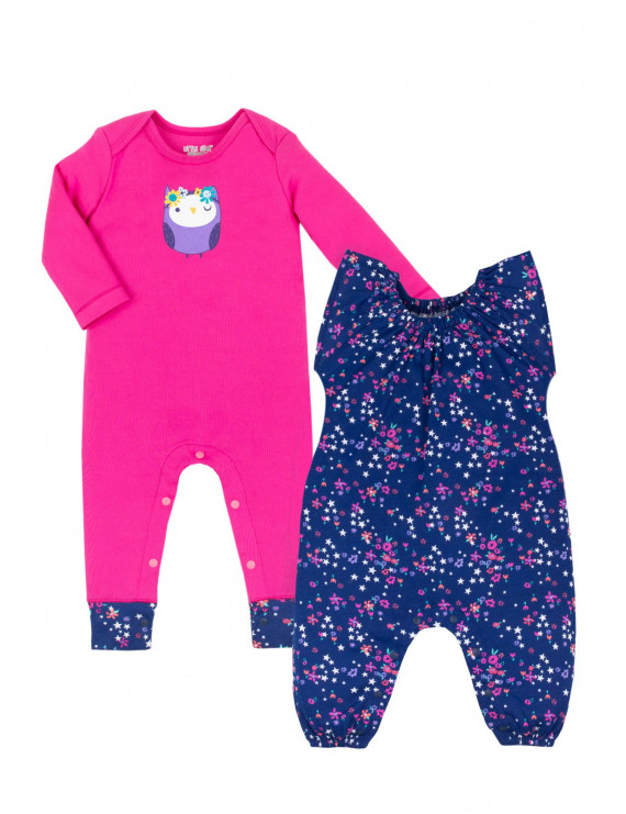Little Star Organic Baby Girls Pure Organic Rompers, 2-Pack