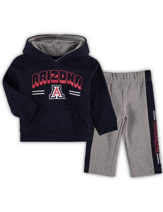 Newborn & Infant Navy/Heathered Gray Arizona Wildcats Punter Fleece Hoodie and Pants Set