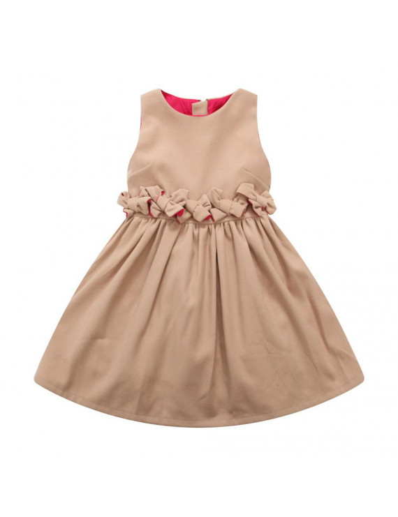 Richie House Little Girls Tan Bow Detailed Dress 2