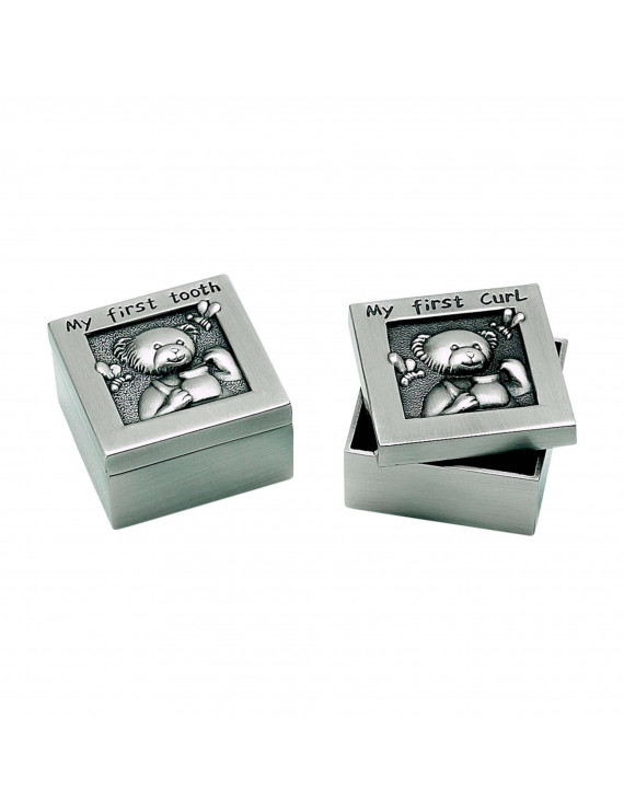 Silver baby 1st curl and 1st tooth boxes; set of 2