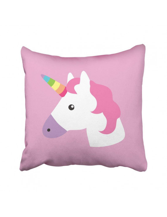 WOPOP Pink Head Unicorn Portrait Kids Room White Horse Face Cute Graphic Cartoon Animal Pillowcase Throw Pillow Cover 18x18 inches