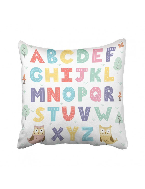 ARTJIA Colorful Baby Funny Forest Alphabet Abc Animal Kids Letters Cute Owl School Pillowcase Pillow Cover 18x18 inches
