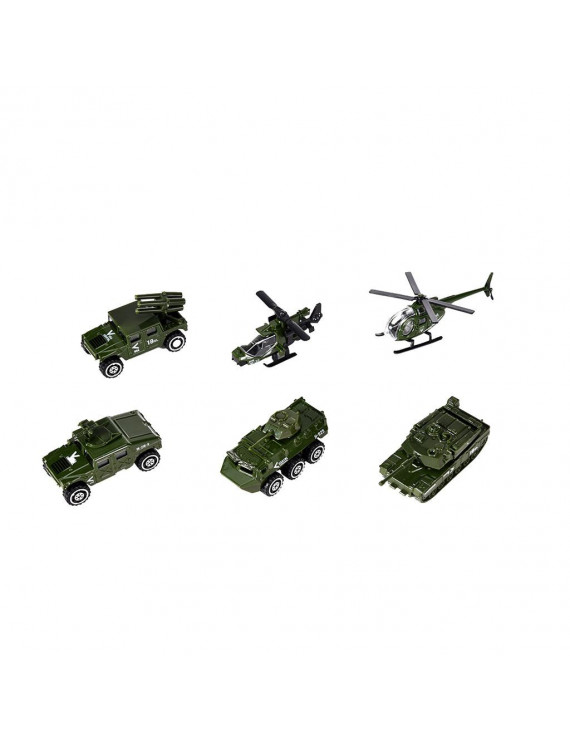 6 Pack Assorted Alloy Die-cast Military Vehicles Models Car Toys Set