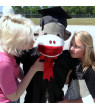 American Made Giant Graduation Sock Monkey Four and One Half Feet Tall Wearing Graduation Cap and Gown Made in the USA