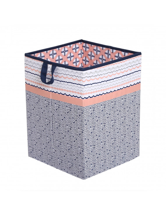 Bacati - Tribal Olivia Coral/Navy Cotton Percale Fabric covered Collapsible Hamper, Olivia Coral/Navy, 18 H x 13 W x 13 L inches