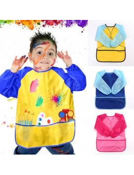1pc Costume  Kids Craft Blouse  Painting Waterproof Anti Wear Childrens Apron  Baby Bibs Waterproof