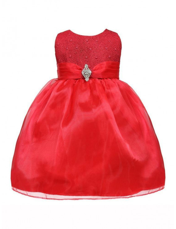 Baby Girl Red Glitter Bodice Organza Skirt Brooch Flower Girl Dress