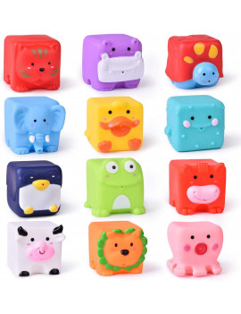 12 PCs Kids Bath Toys, Soft Cube Bath Squirters for Toddler, Squeeze Water Toys Building Blocks for Kids, Party FavorsF-321