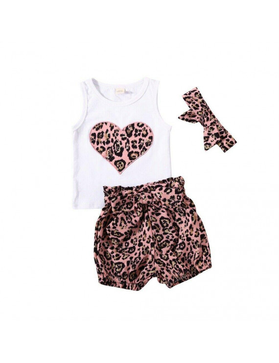 Newborn Baby Girl Outfits Heart Shaped Vest Bow Leopar Shorts Headband Summer Casual Clothing Set 0-6 Months