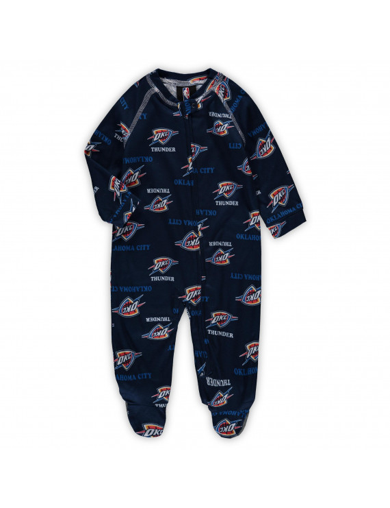 Oklahoma City Thunder Newborn & Infant Zip-Up Raglan Jumper Pajamas - Navy