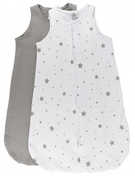 100% Cotton Wearable Blanket Sleep Bag 2 Pack Grey Stars and Solid Grey Large 6-12 Months