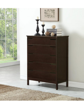 Angel Line Lauren 5 Drawer Chest, Espresso