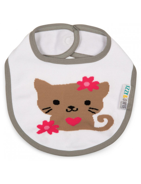 Izzy & Owie - Baby Girl Kitty Snap Bib - White and Gray