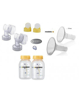 Medela replacement parts: Connector, valve with membrane, bottle, breastshield 27mm ( From bulk)