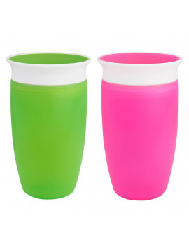 Munchkin's BPA Free 2-Pack 10 Ounce Miracle 360 Degree Cup - GREEN & PINK