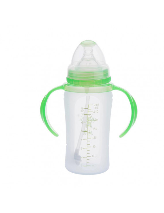 240ml Silicone Milk Feeding Bottle Nipple with Handle for Baby Infant