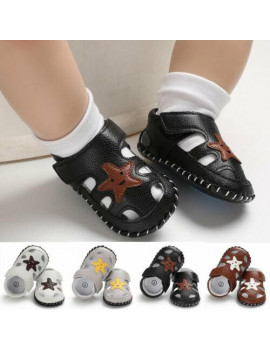 Newborn Baby Boys Soft Sole Leather Crib Shoes Anti-slip Sneaker Prewalker 0-18M