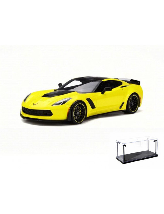 Diecast Car & LED Display Case Package - 2016 Chevy Corvette Z06, Yellow - GT Spirit GT171 - 1/18 Scale Collectible Resin Model Car w/LED Display Case