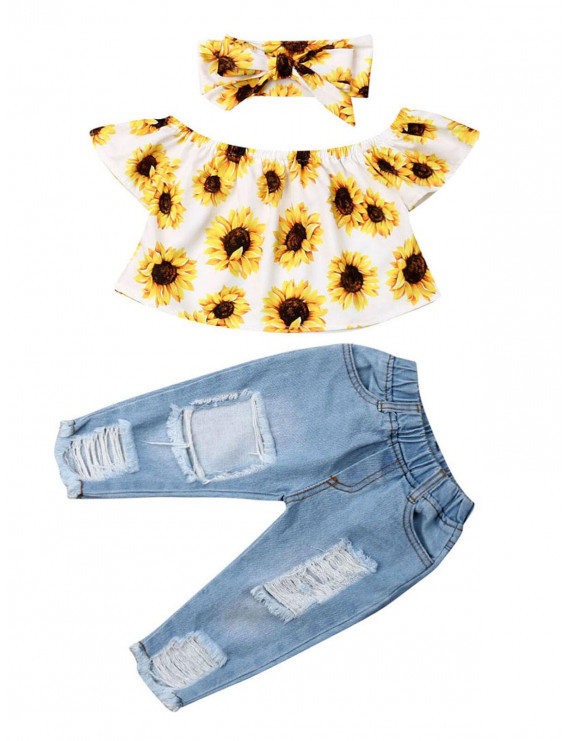 2PCS Baby Girl Off Shoulder Sunflower Top Shirt+Ripped Jeans Denim Pants Casual Clothing