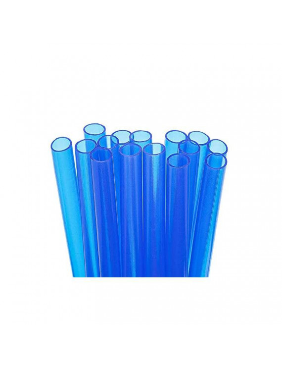 15 Short Reusable Plastic Straws Extra Wide + Sturdy Cleaning Brush - For Thick Smoothies in Small Glasses or Cups, and Kids Drinks - Blue Value Pack - BPA PFOA Free